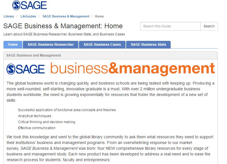 SAGE Business & Management LibGuide