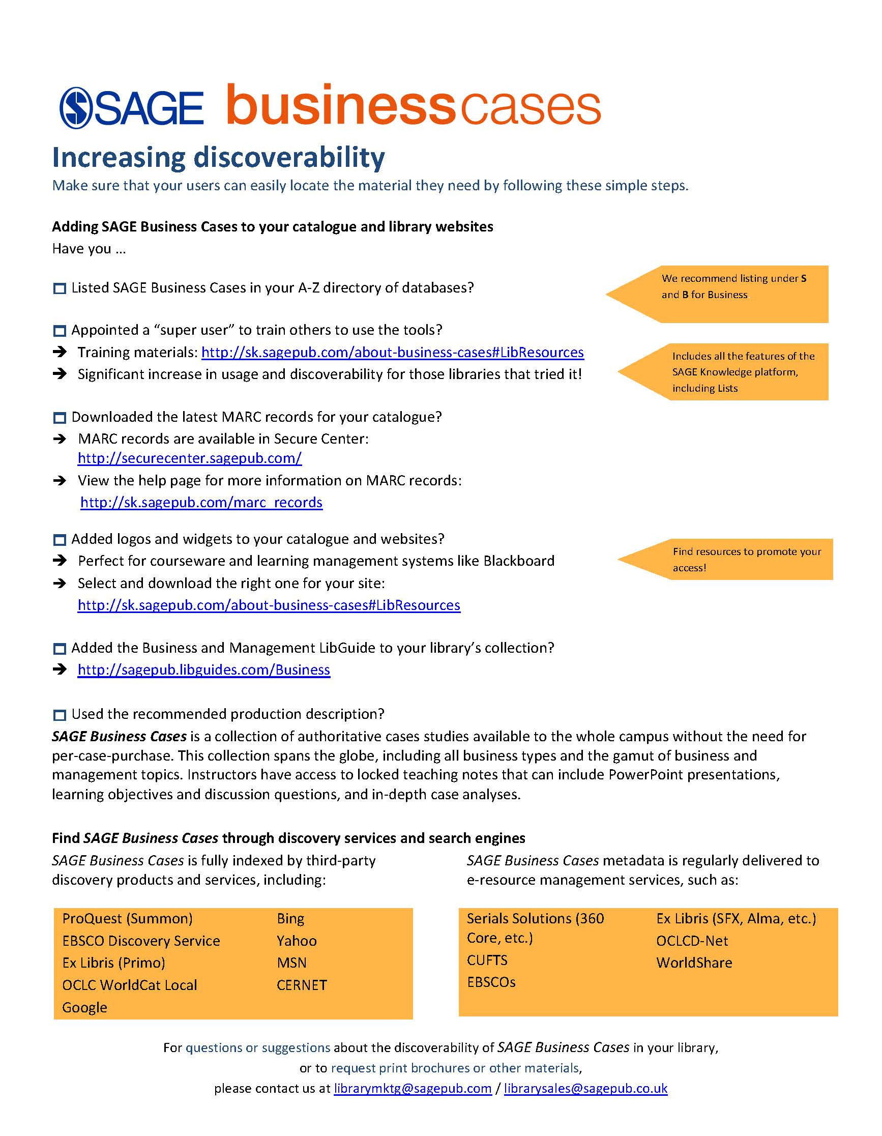 SAGE Business Cases Discoverability Checklist