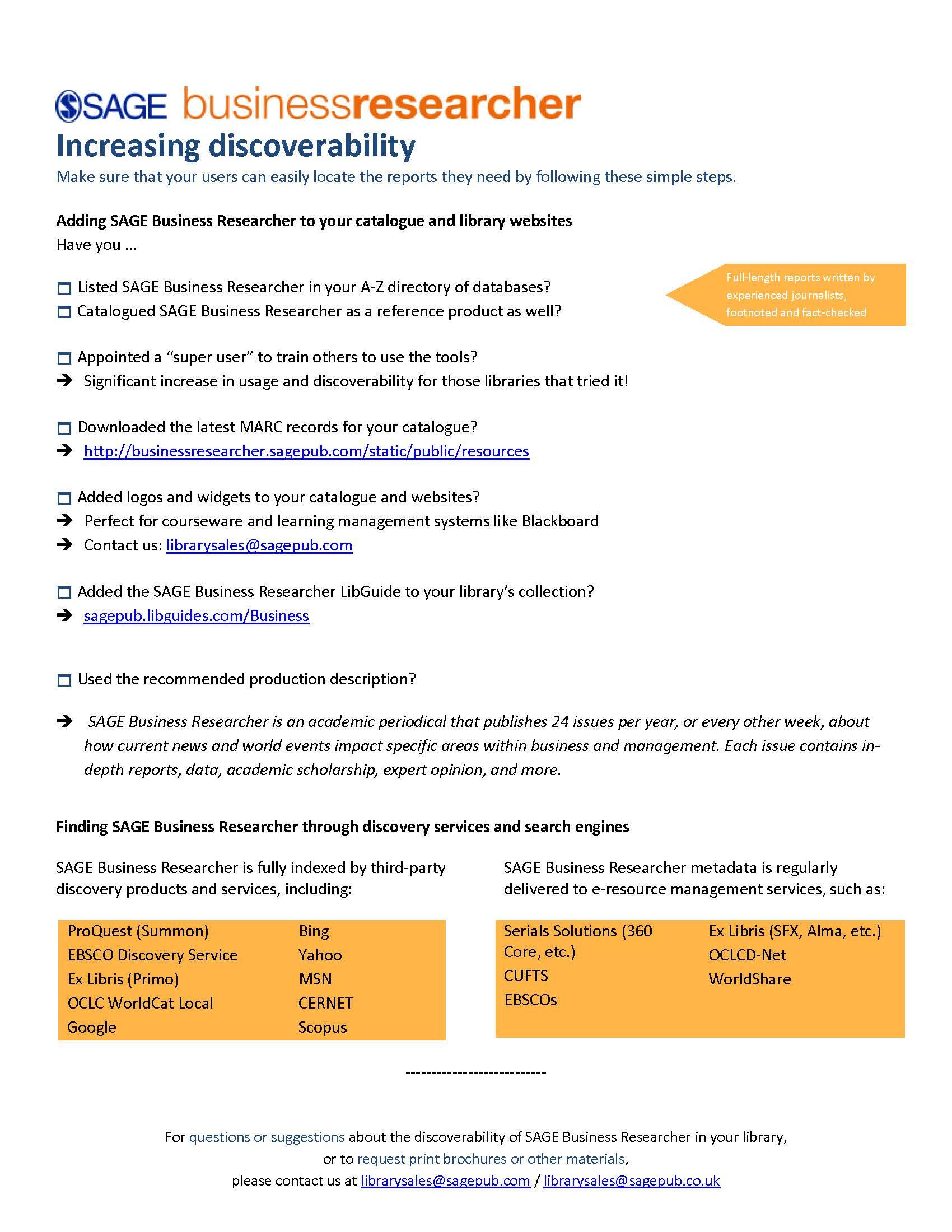 SAGE Business Researcher Discoverability Checklist