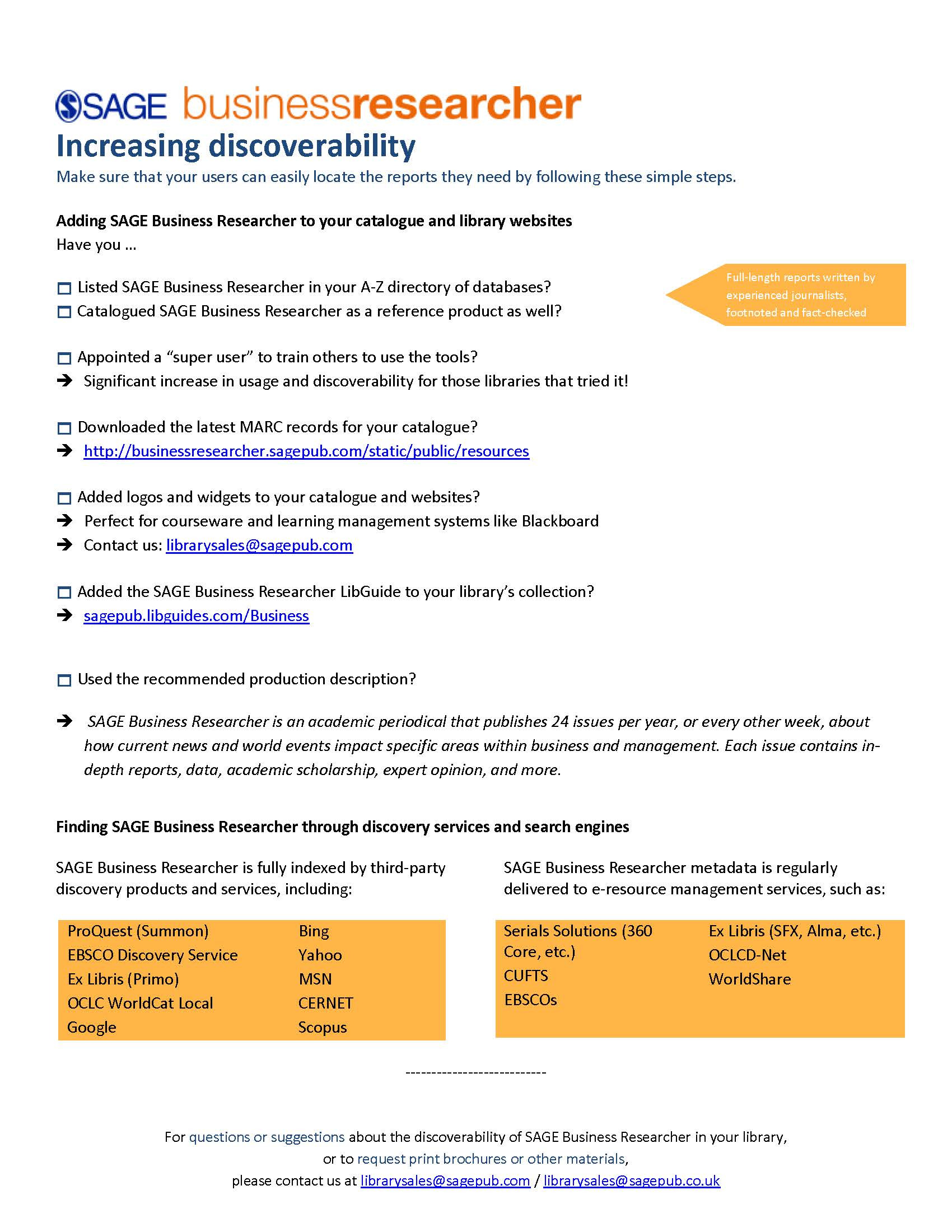 SAGE Business Researcher Discoverability Checklist